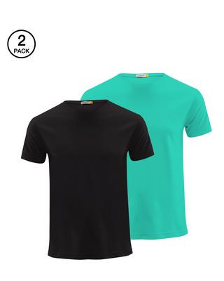Shop Men's Half Sleeve Pack of 2 (Black & Green)-Front