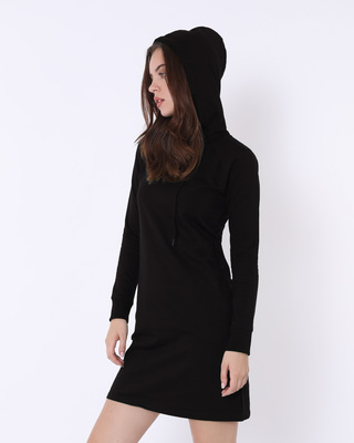 Shop Jet Black Fleece Hoodie Dress-Front