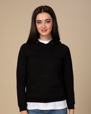 Shop Jet Black Fleece Hoodies-Front