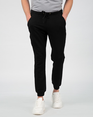 Shop Jet Black Fleece Joggers-Front