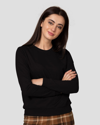 Shop Jet Black Fleece Light Sweatshirt-Front