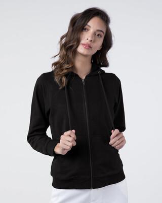 Shop Jet Black Fleece Zipper Hoodies-Front