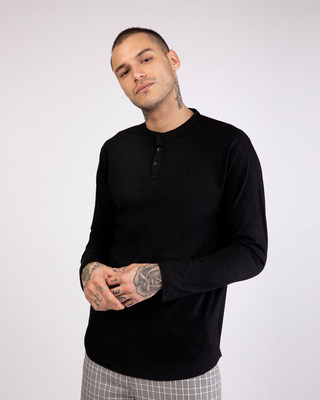 Shop Jet Black Full Sleeve Henley T-Shirt-Front
