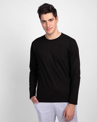Shop Jet Black Full Sleeve T-Shirt-Front