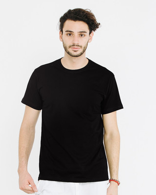 Shop Jet Black Half Sleeve T-Shirt-Front
