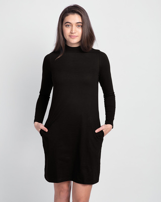 Shop Jet Black High Neck Pocket Dress-Front