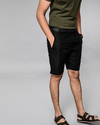 Shop Jet Black Lightweight Slim Oxford Shorts-Front
