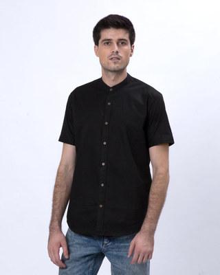 Shop Jet Black Mandarin Collar Half Sleeve Shirt-Front