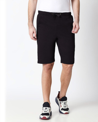 Shop Jet Black Men's Casual Shorts-Front