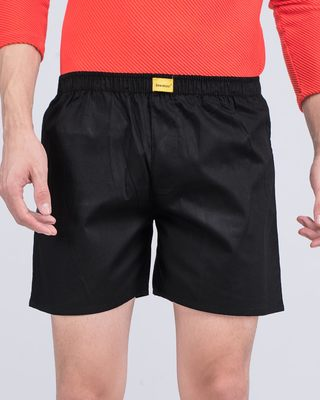 Shop Jet Black Plain Boxer-Front