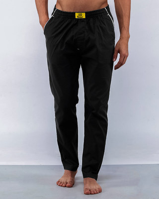 Shop Jet Black Plain Pyjama-Front