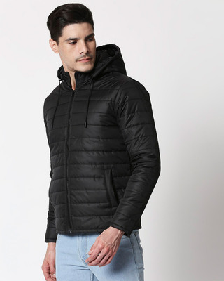 Shop Jet Black Plain Puffer Jacket with Detachable Hood-Front