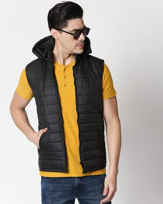 Shop Jet Black Plain Sleeveless Puffer Jacket with Detachable Hood-Front