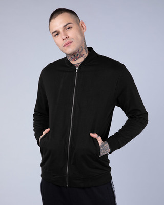 Shop Jet Black Plain Zipper Bomber Jacket-Front