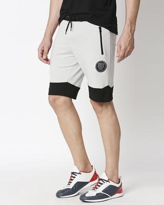 Shop Jet Black-Quiet Grey Plain Fashion Collabs Zipper Shorts-Front