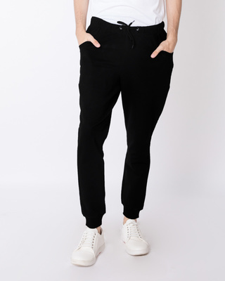 Shop Jet Black Round Pocket Fleece Joggers-Front