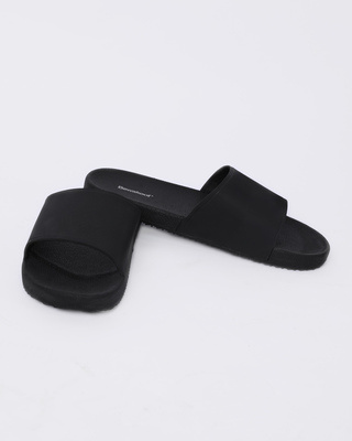 Shop Women Jet Black Sliders-Front