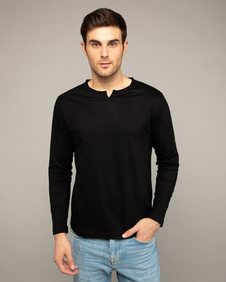 Shop Jet Black Slit Neck Full Sleeve Henley T-shirt-Front