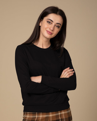 Shop Jet Black Fleece Sweater-Front