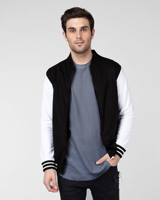 Shop Jet Black Varsity Bomber Jacket-Front
