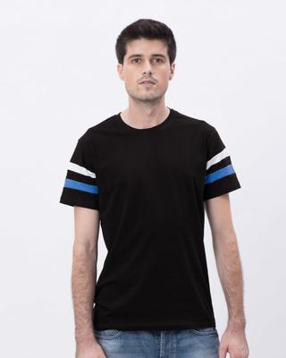 Shop Jet Black-White-Capri Blue Sports Trim T-Shirt-Front