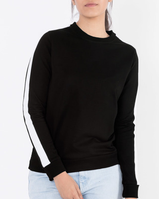 Shop Jet Black-White Fleece Sweater-Front
