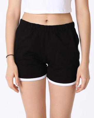 Shop Jet Black-White Runner Fleece Shorts-Front