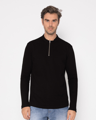 Shop Jet Black Zip Henley Full Sleeve Pique T-Shirt-Front