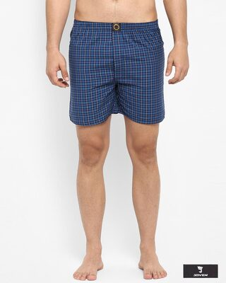 Shop Joven | Blue and White Checked Boxers-Front