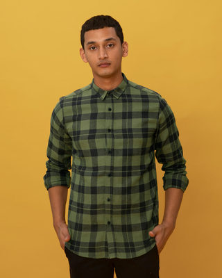 Shop Juniper Green Checked Shirt-Front