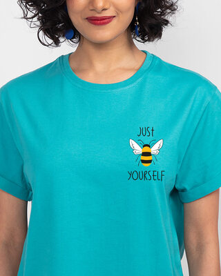 Shop Just Bee Yourself Boyfriend T-Shirts Tropical Blue -Front