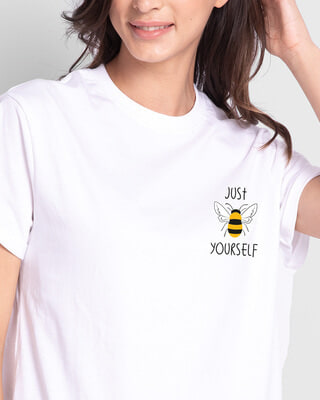 Shop Just Bee Yourself Boyfriend T-Shirts White -Front