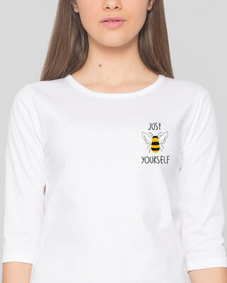 Shop Just Bee Yourself Round Neck 3/4 Sleeve T-Shirts White -Front