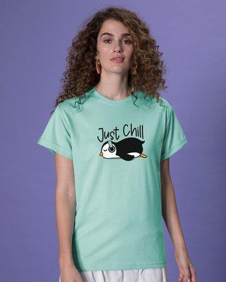 Shop Just Chill-penguin Boyfriend T-Shirt-Front