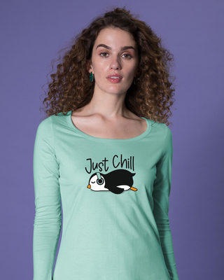 Shop Just Chill-penguin Scoop Neck Full Sleeve T-Shirt-Front