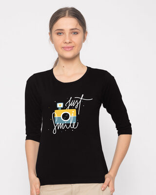 Shop Just Smile Round Neck 3/4th Sleeve T-Shirt-Front