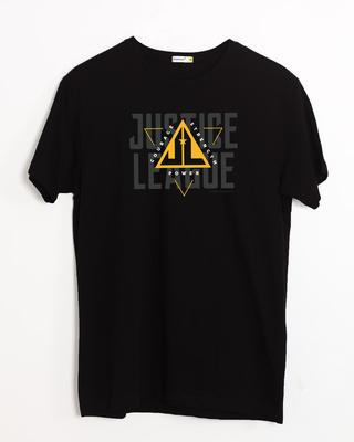 Shop Justice League Triad Half Sleeve T-Shirt Black-Front