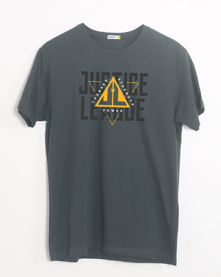 Shop Justice League Triad Half Sleeve T-Shirt Nimbus Grey-Front