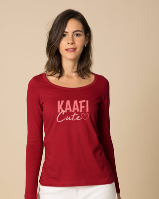 Shop Kaafi Cute Scoop Neck Full Sleeve T-Shirt-Front