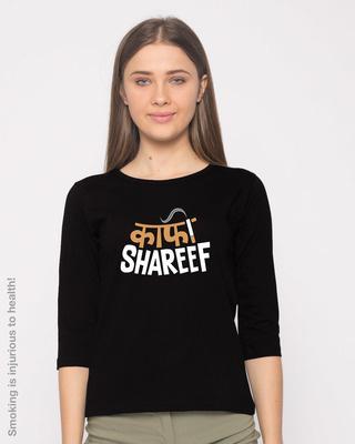 Shop Kaafi Shareef Round Neck 3/4th Sleeve T-Shirt-Front