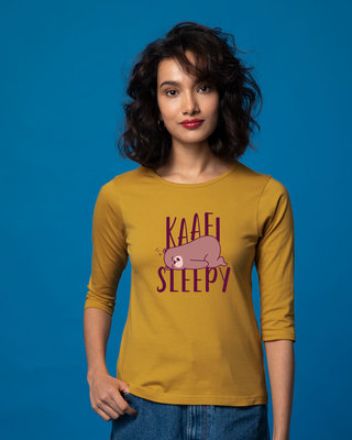 Shop Kaafi Sleepy Round Neck 3/4th Sleeve T-Shirt-Front