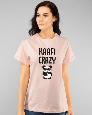 Shop Kafi Crazy Printed Boyfriend T-Shirts Baby Pink-Front