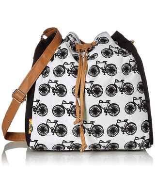 Shop Kanvas Katha Canvas Bucket Drawstring Crossbody Sling Bag-Front