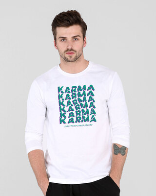 Shop Karma Comes Around Full Sleeve T-Shirt White-Front