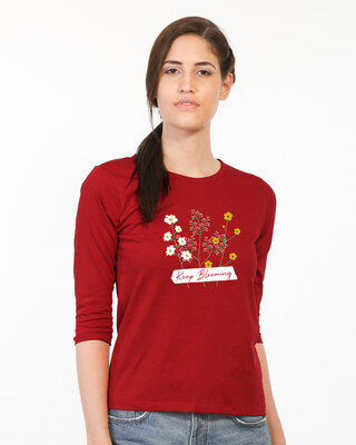 Shop Keep Blooming Flowers Round Neck 3/4th Sleeve T-Shirt Bold Red-Front