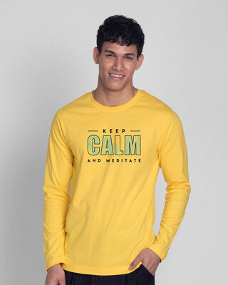 Shop Keep Calm And Meditate Full Sleeve T-Shirt-Front