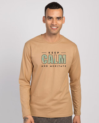 Shop Keep Calm And Meditate Full Sleeve T-Shirt Pastel Beige-Front