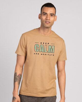 Shop Keep Calm And Meditate Half Sleeve T-Shirt - Dusty Beige-Front