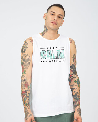 Shop Keep Calm And Meditate Vest White-Front