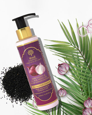 Shop Khadi Essentials Black Seed Oil & Red Onion Hair Conditioner with Jaborandi Oil For Hair Growth-Front